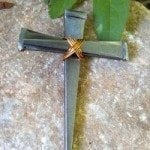 Large Nail Cross with copper wire