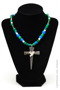 Bethany Cross - Aqua & Blue glass beads with small silver nail cross
