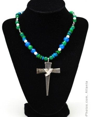 """Abigayle"" aqua blue glass beaded nail cross"