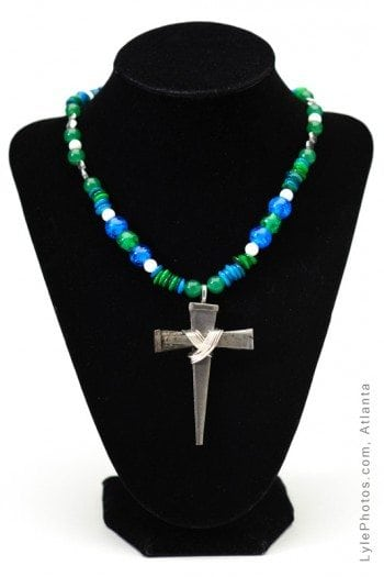 """Abigayle"" aqua blue glass beaded nail cross"
